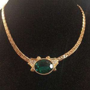 Swarovski emerald green gold tone choker